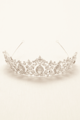 The silvery Regal Tiara by David's Bridal is perfect for an ice princess. (Style 727)