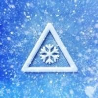 Winter snow warning symbol, Driving winter background