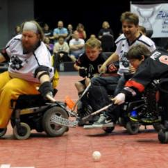 Wheelchair Fight Ercol Posture Chair Popularity Of Hockey Continues To Grow Best Sno Philadelphia Powerplay Forwards Liam Miller Alex Pitts And Jake Saxton For The Ball