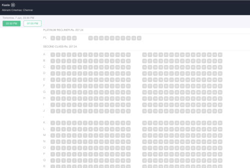Chennai Bookings