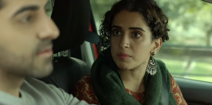 Ayushmann Khurrana and Sanya Malhotra in Badhaai Ho