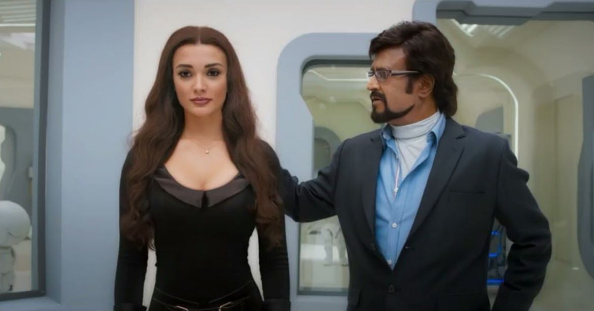 Amy Jackson and Rajnikanth in 2.0