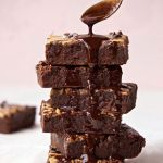 Vegan Peanut Butter Banana Brownies stacked on top of each other