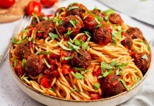 Spaghetti with Mini Meatless Balls