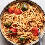 Vegan Bolognese Pasta with Tahini