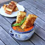 Vegan Smoked Cheddar Grilled Cheese with Tomato Basil Bisque