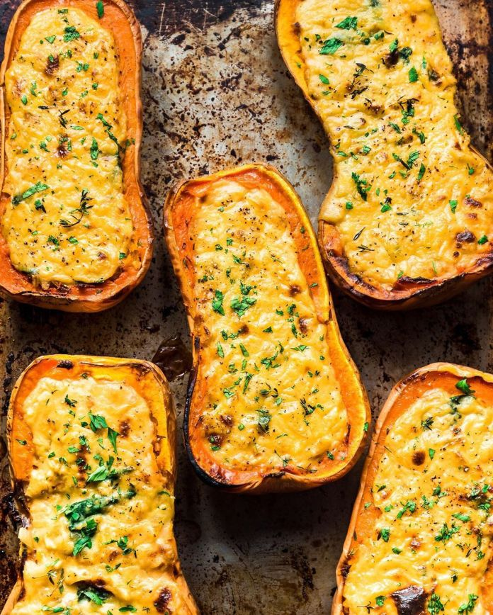 Vegan Cheesy Baked Butternut Squash