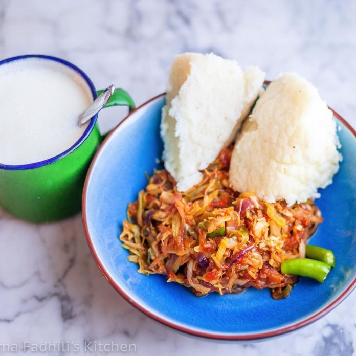 An Exploration of Kenyan Cuisine: Cabbage stew with ugali.