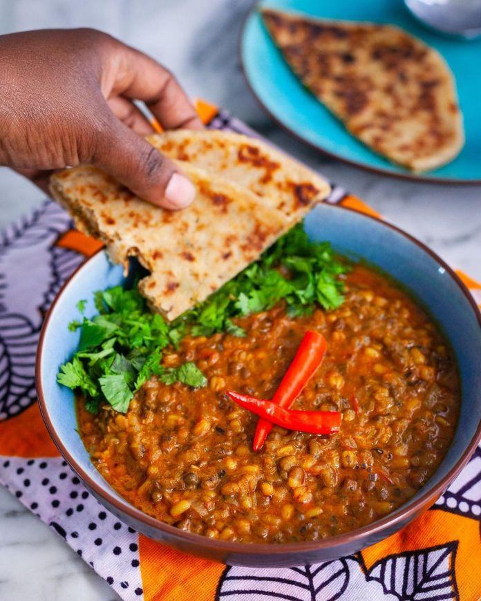 An Exploration of Kenyan Cuisine: Green grams, ndengu or mungu beans in coconut milk and chapati.