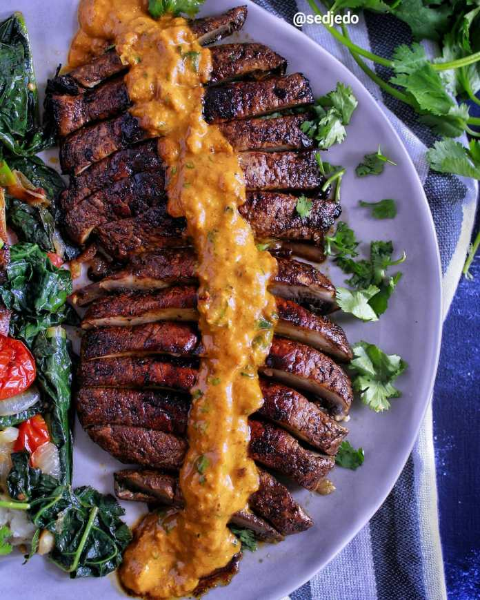 An Exploration of Jamaican Cuisine: Marinated & Grilled Shroom 'Ribs' with Spicy Curry Sauce