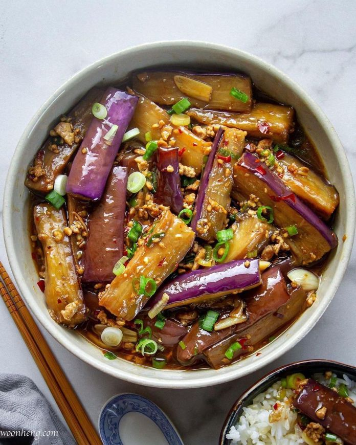 Vegan Spicy Garlic Eggplant