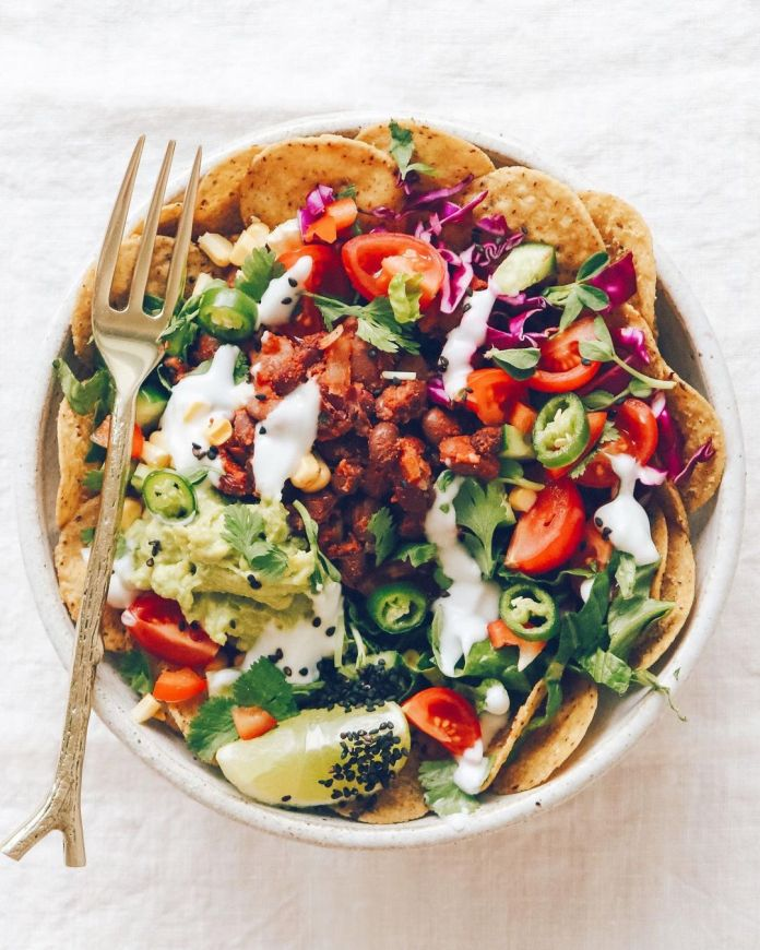 Vegan Nacho Bowl With Coconut Sour Cream