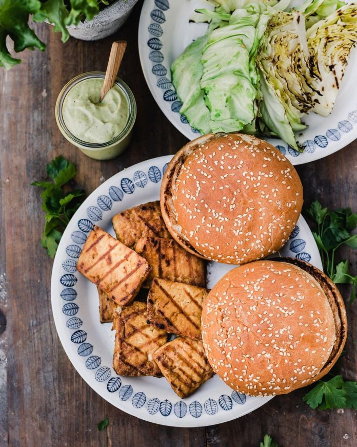 Grilled Vegan Caesar Salad Tofu Burger with Garlic Oil