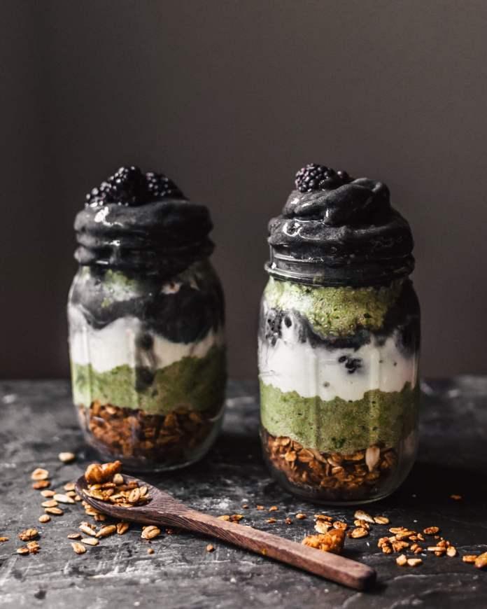Vegan Chia Recipe: Black sesame matcha parfait