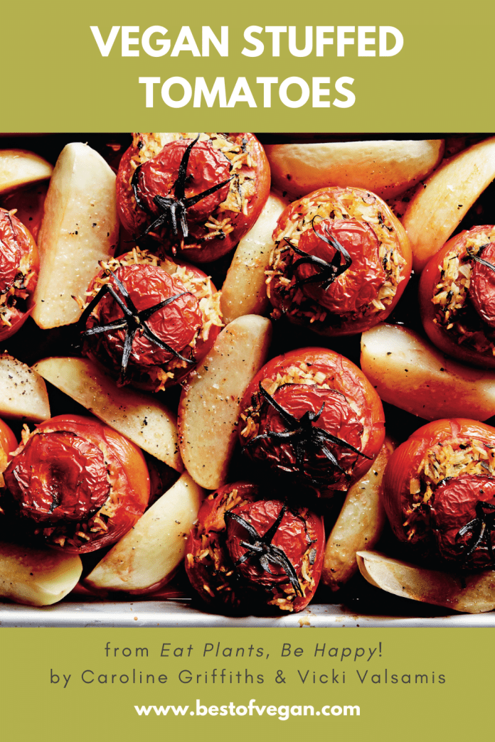 Vegan Stuffed Tomatoes from Caroline Griffiths & Vicki Valsamis' Eat Plants, Be Happy!
