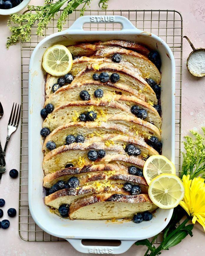 Vegan Overnight Lemon-Blueberry Baked French Toast