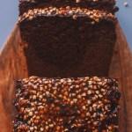 Vegan Raw Buckwheat Tahini Loaf Cake with Miso Caramel Glaze