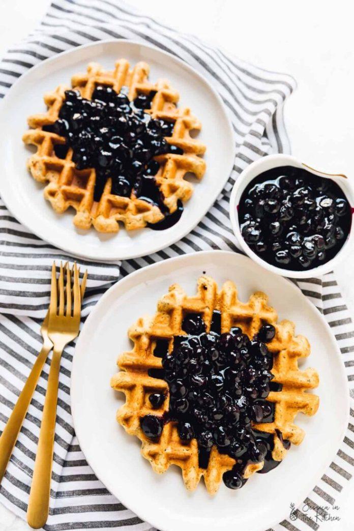 Vegan Blueberry Recipe: Lemon Poppyseed Waffles with Blueberry Sauce