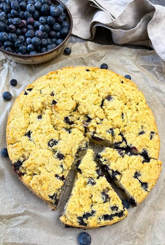 Vegan Blueberry Cornbread by Healthier Steps