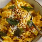 Vegan Saffron & Butternut Squash Pasta with Fried Mint & Pine Nuts