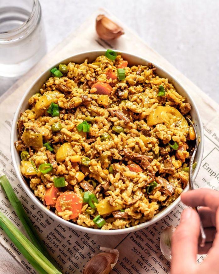 Mushroom and Tofu Curry Rice