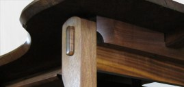 A detail of gorgeous exposed tenons and under-structure.