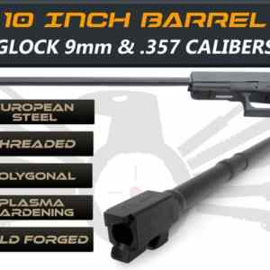 "Gen 3 & 4 Glock 10"" Barrels IGB Austria Match Grade Polygonal Profile 10"" Threaded Barrel For 9mm & .357sig Calibers"