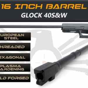 "Glock Gen 5 Long Barrels 16"" Made By IGB Austria - Match Grade Hexagonal 16"" Threaded Barrel For .40S&W Calibers"