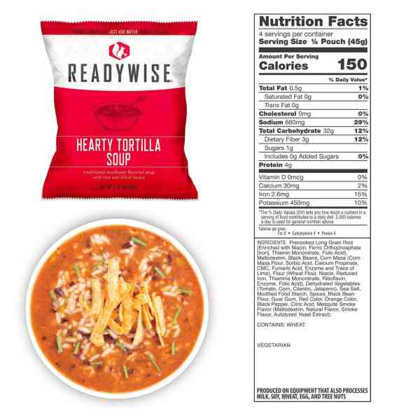 1 pouch of Hearty Tortilla Soup (4 total servings)
