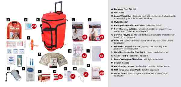 2 Person Survival bug out bag red wheel bag