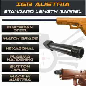 Gen 3 & 4 Glock Threaded Barrel & Fluted Barrel Standard Length - Match Grade Hexagonal Profile By IGB Austria