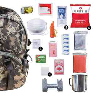 Camo 64 Piece Survival Backpack