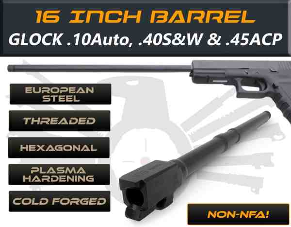 "Glock 20 .10 auto caliber -16"" Threaded Barrel"
