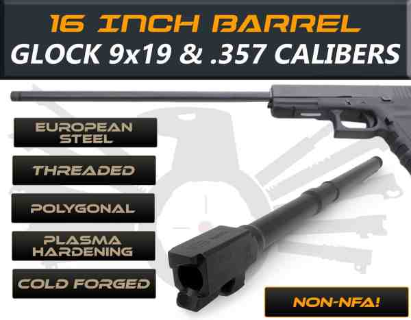 "Glock 23/32 .357 Sig caliber -16"" Threaded Barrel"