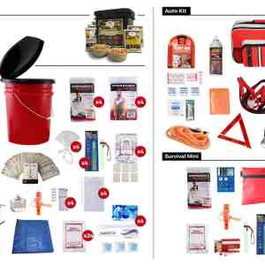 family bug out bag kit with food storage