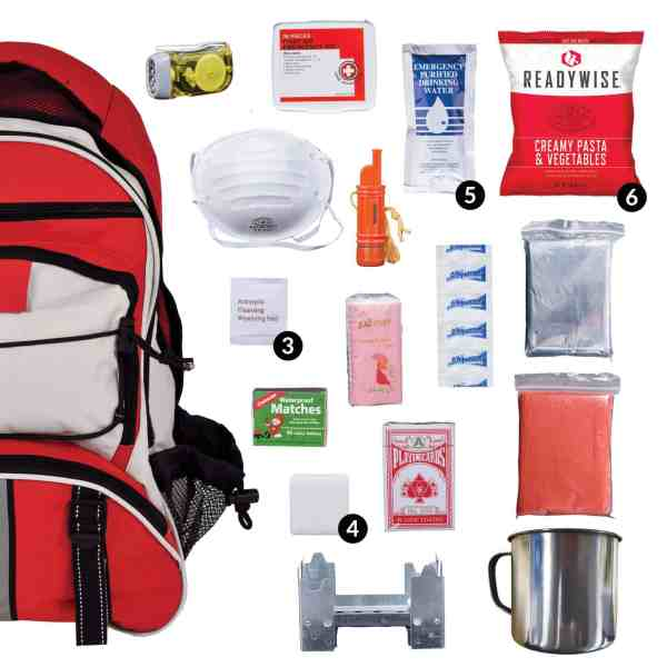 Red 64 Piece Survival Backpack