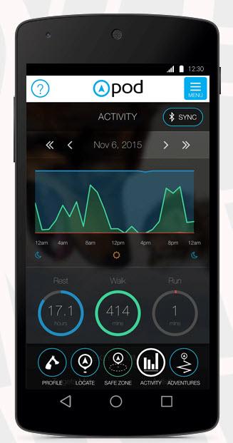 pod 2 gps activity tracker on smartphone app