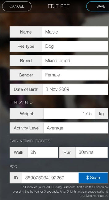 pod 2 gps app set activity goals