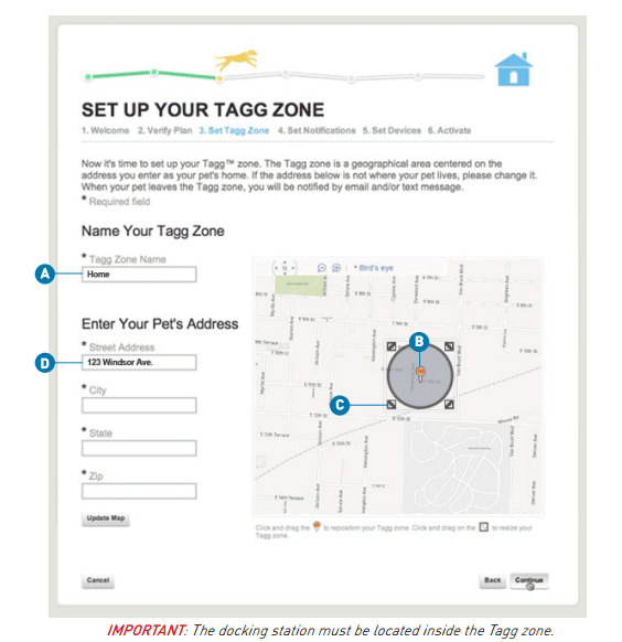The Tagg Zone inside Tagg Pet Tracker