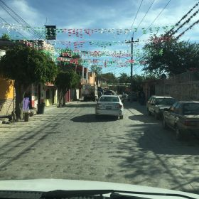 Street with fiesta decorations in Mexico