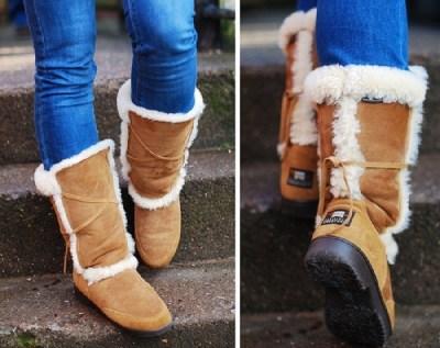 A woman wearing Sheepskin boots
