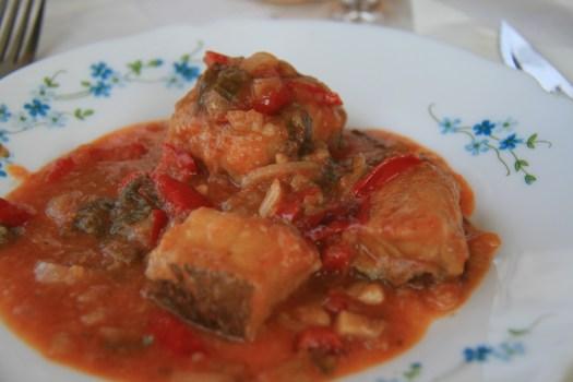 Bacalao en salsa de Tomate, street food Puerto Rico