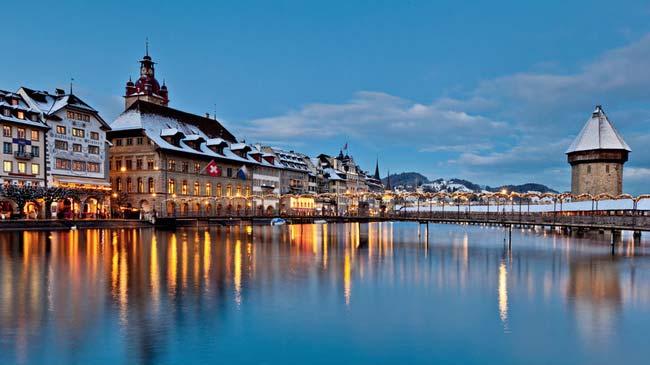 Luzern, Winterpanorama, Europe