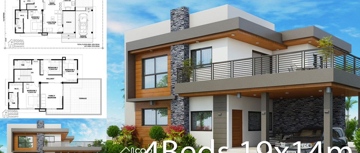Home design plan 19x14m with 4 bedrooms