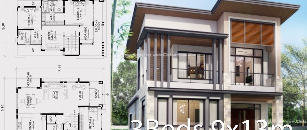 Home design plan 9x13m with 3 Bedrooms