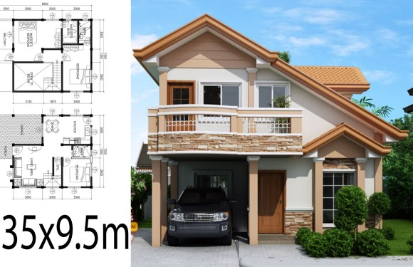 Home Design Plan 7.35×9.5m with 3 Bedrooms