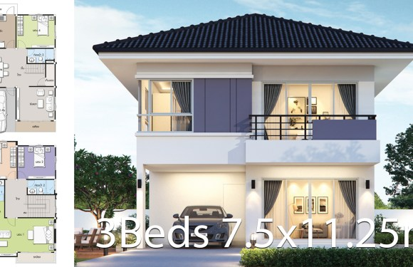 House design plan 7.5×11.25m with 4 bedrooms
