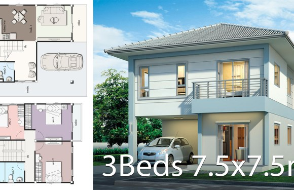 Modern House design plan 7.5×7.5m with 3Beds
