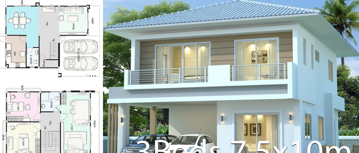 Modern house design plan 7.5x10m with 3Beds