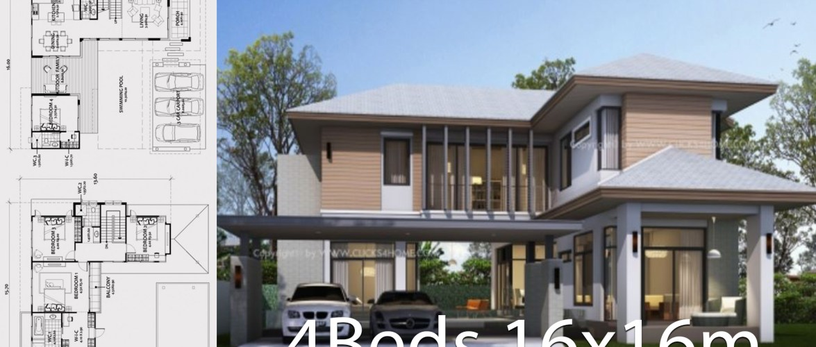 Home design plan 16x16m with 4 bedrooms